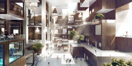 Interior image of MVRDV's 'Cloud' Yongsan Project, Seoul