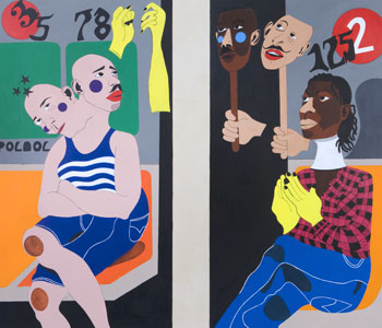 Nina Chanel Abney, Ivy and the Janitor in January (2009), Acrylic on canvas, Diptych, 137 x 152.5 cm total