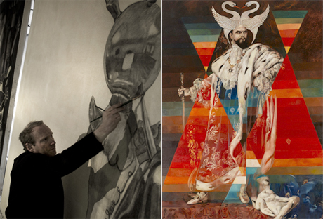 Portrait of the artist Wolfe von Lenkiewicz (left) and his work King Ludvig/Kleen (2011) (right), Oil on canvas, 272 x 192 cm