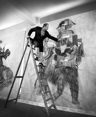 Wolfe von Lenkiewicz at work in his studio