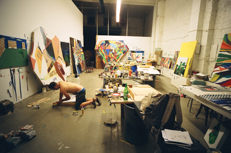 Chris Johanson in his studio