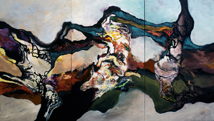 Richard Harrison, Triassic (Triptych) oil and acrylic on canvas 183 x 320 cm (72 x 126 in)