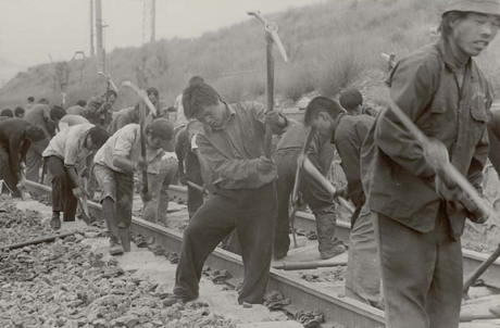 Danny Lyon, Railway Workers Just West of Datong, Shanxi Province, China. From the Deep Dea Diver collection (2005-2009)