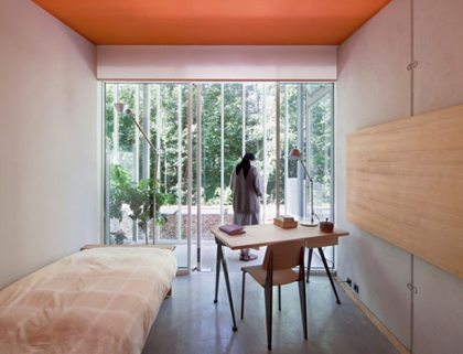 Nun's bedroom in Renzo Piano's convent in Ronchamp, France