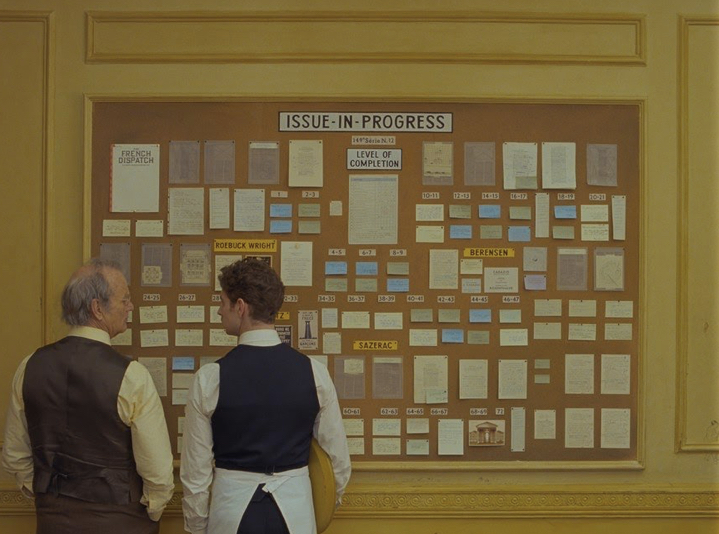 A still from The French Dispatch by Wes Anderson