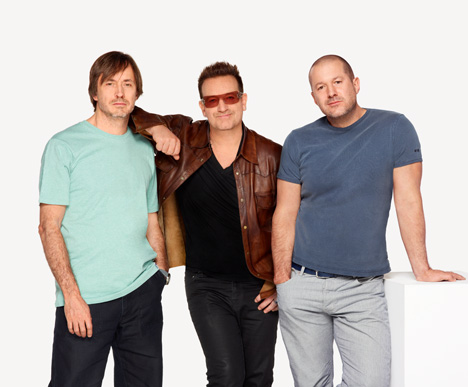 Left to right: Marc Newson, Bono, Jonathan Ive