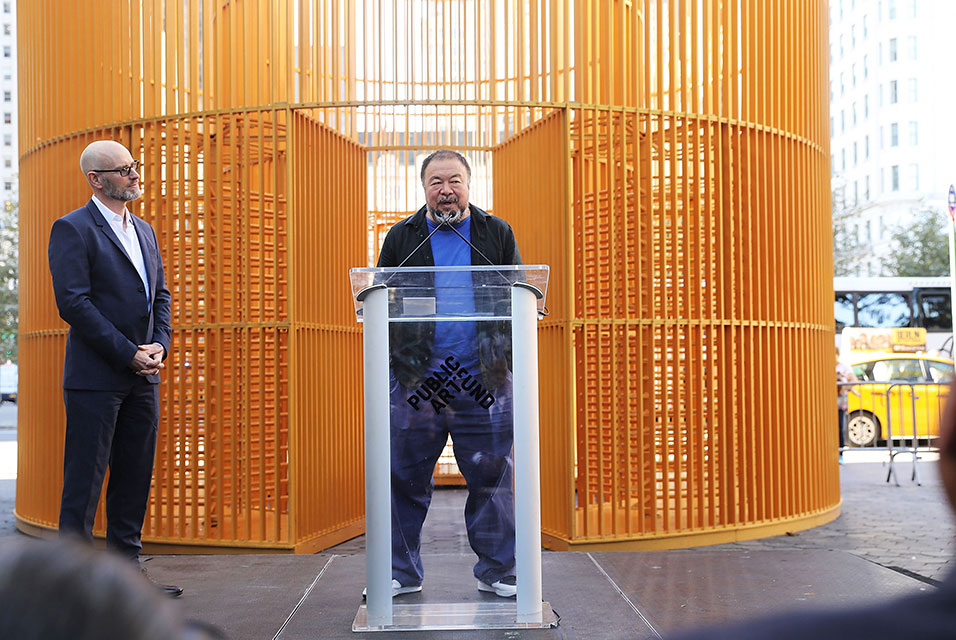 Ai Weiwei at the opening of his latest work in Manhattan - photo by Spencer Platt/Getty Images/AFP