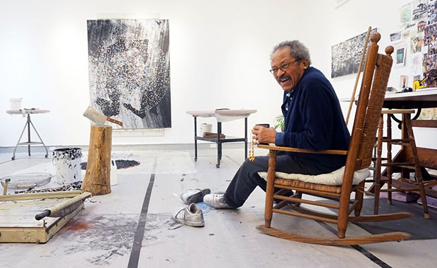 Jack Whitten photographed in his Queens Studio by Katherine McMahon