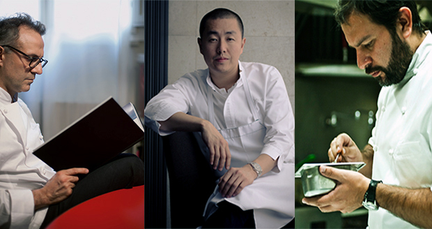 From left: Massimo Bottura, Corey Lee, Enrique Olvera