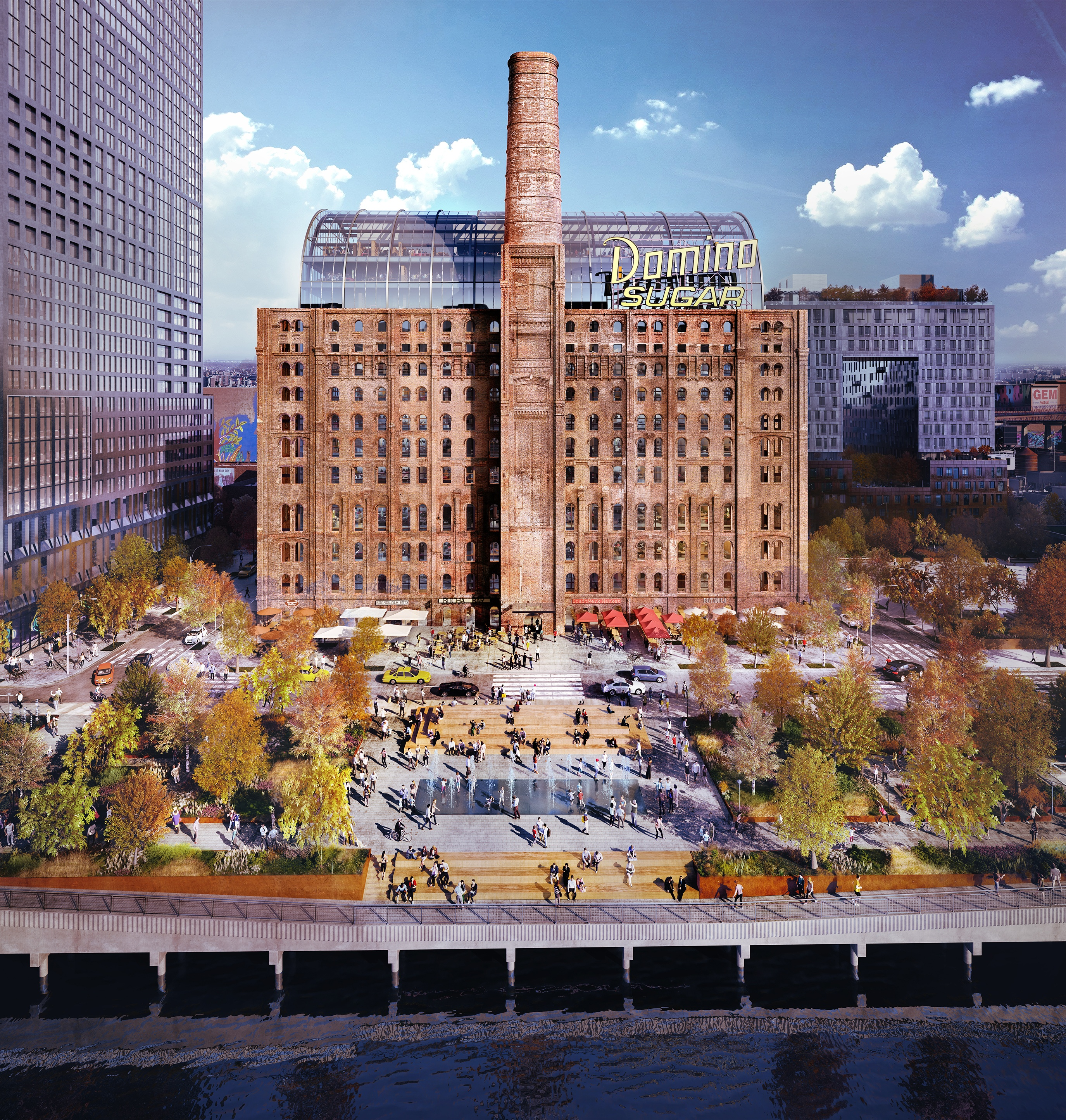 James Corner Field Operations' renderings for the Domino Sugar Factory's waterfront park and esplanade