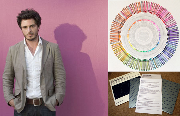 Portrait of the artist Jamie Shovlin who has chosen this week's Muse Music (left), image of his Crayola Colour Wheel from In Search of Perfect Harmony (top right) and Ladies And Gentlemen We Are Floating In Space  (bottom right) - by Spiritualized who feature on his playlist.