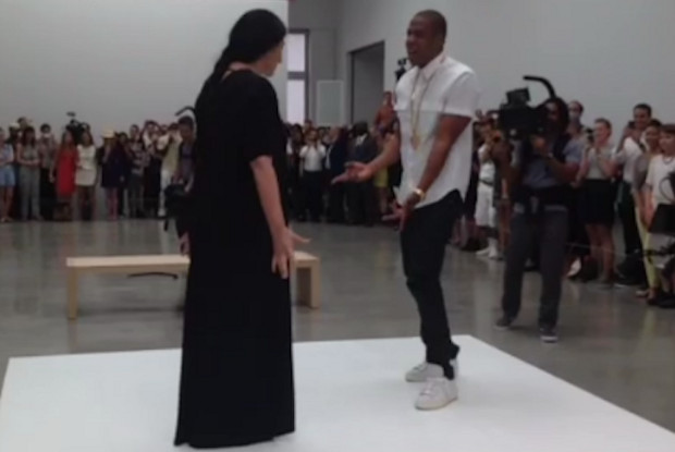 Jay-Z and Marina Abramovic at Pace Gallery yesterday