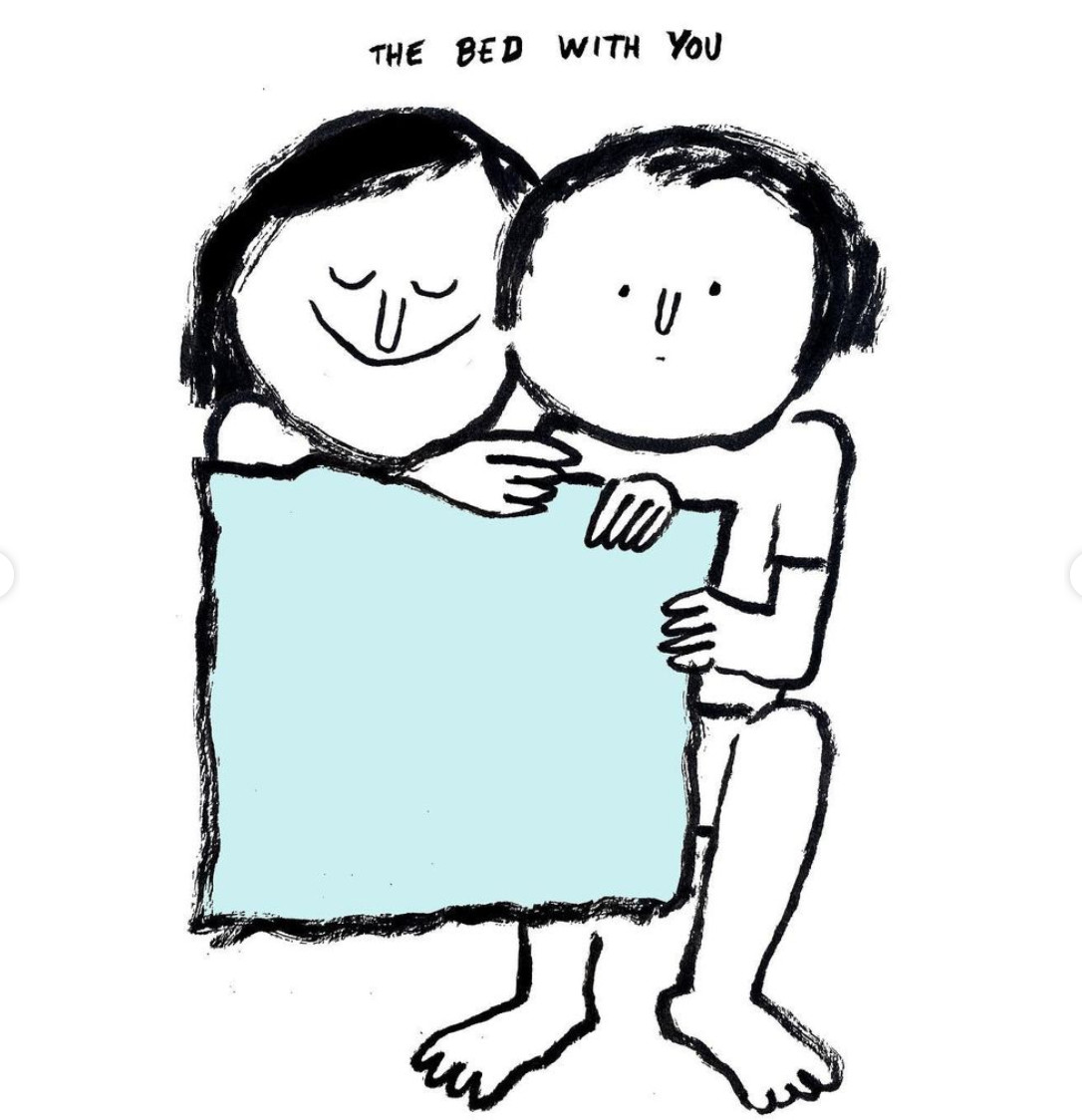 The bed with you, by Jean Jullien. Image courtesy of Jullien's Instagram