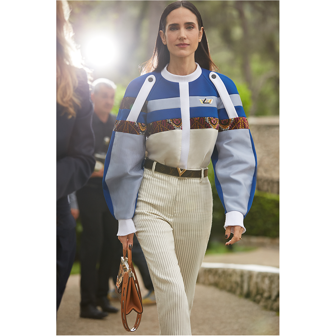 Jennifer Connelly modelling Louis Vuitton's 2019 Cruise collection
