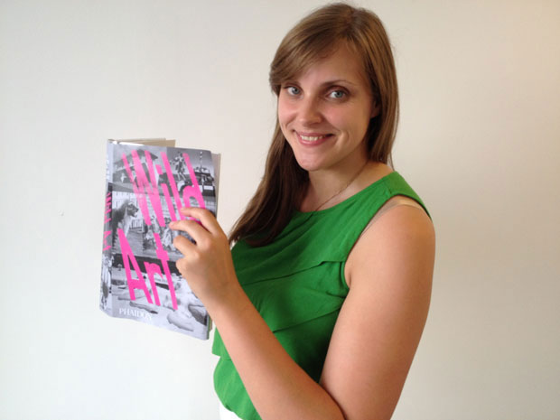 Phaidon editor Jennifer Lawson with a test copy of Wild Art