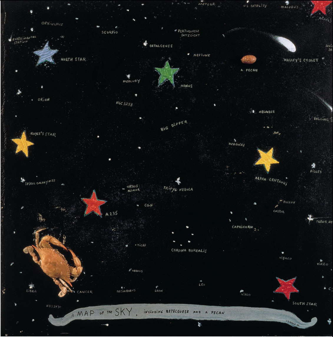 A Map of the Sky including Betelguese and a Pecan (1993) by Jimmie Durham, as reproduced in Universe: Exploring the Astronomical World