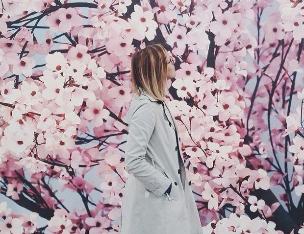 Thomas Demand's cherry blossom wallpaper at Esther Schipper's booth. Photo by Joe Pickard