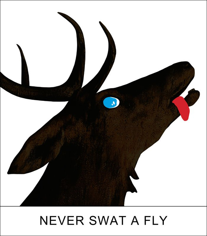Double Play: Never Swat a Fly (2012) by John Baldessari. This work is currently for sale on Art Space