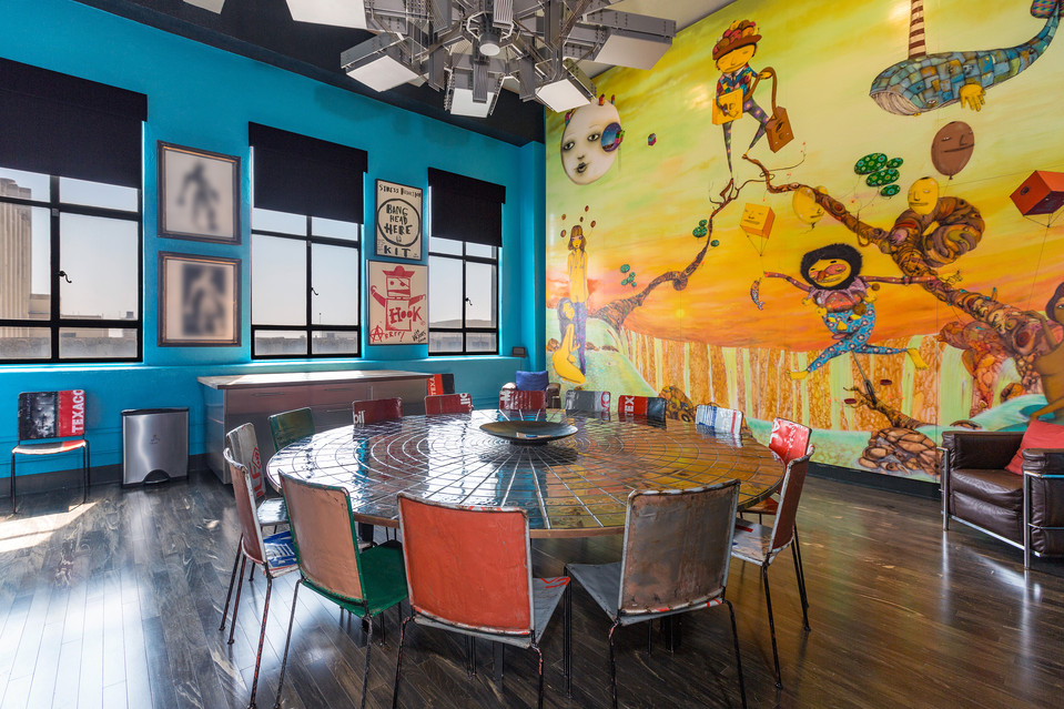 Depp's OSGEMEOS work in Eastern Columbia Penthouse Collection Of Johnny Depp. Image courtesy of Partners Trust.