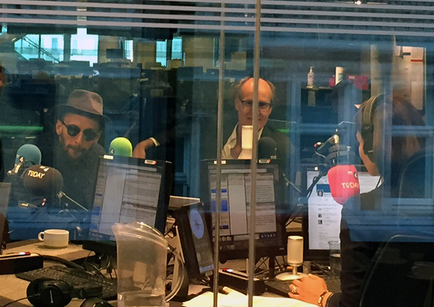 JR (left) and Will Gompertz (centre) and Mishal Husain in the studio of BBC Radio 4's Today programme, 14 October 2015