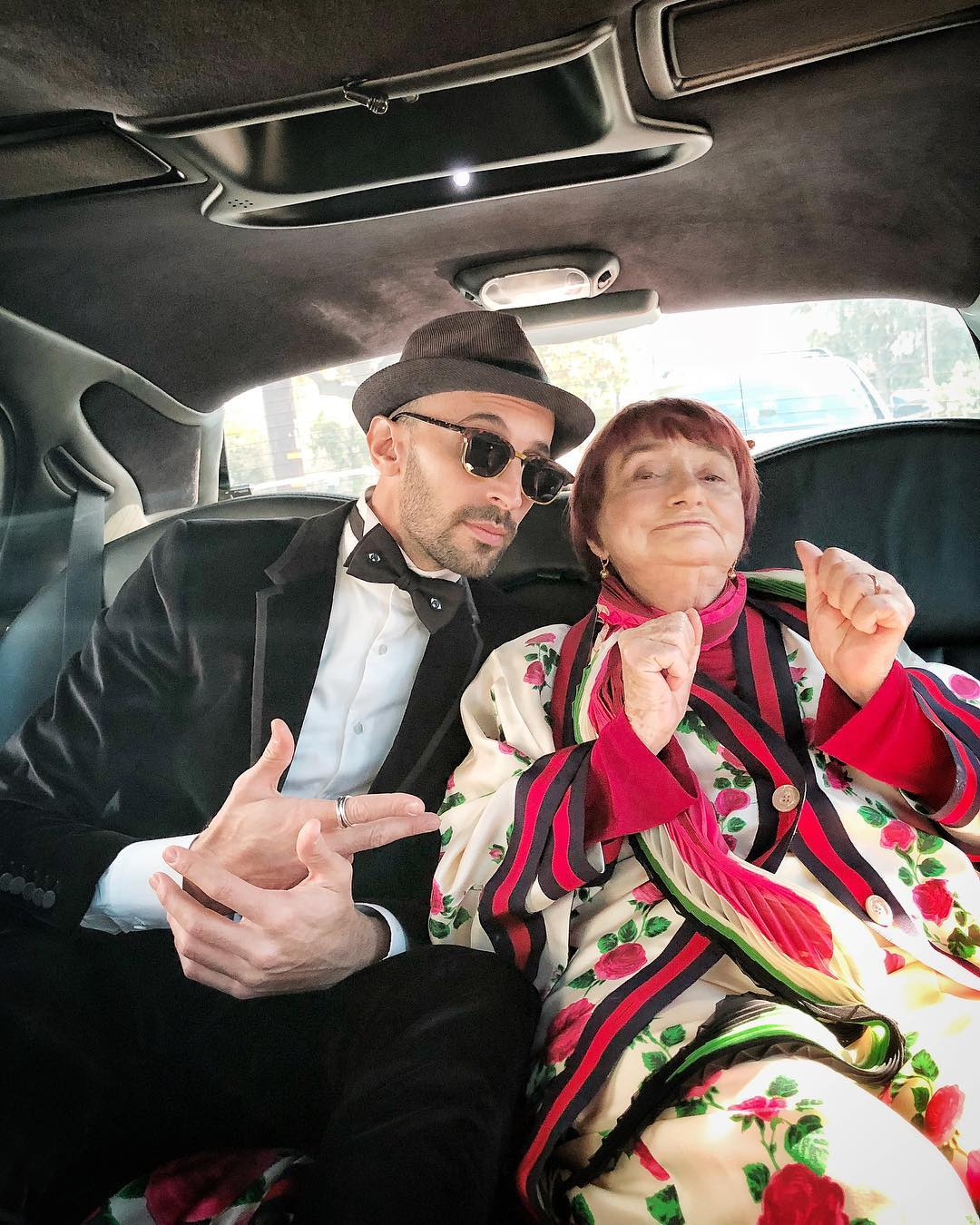 JR and Agnès Varda Varda en-route to the Oscars