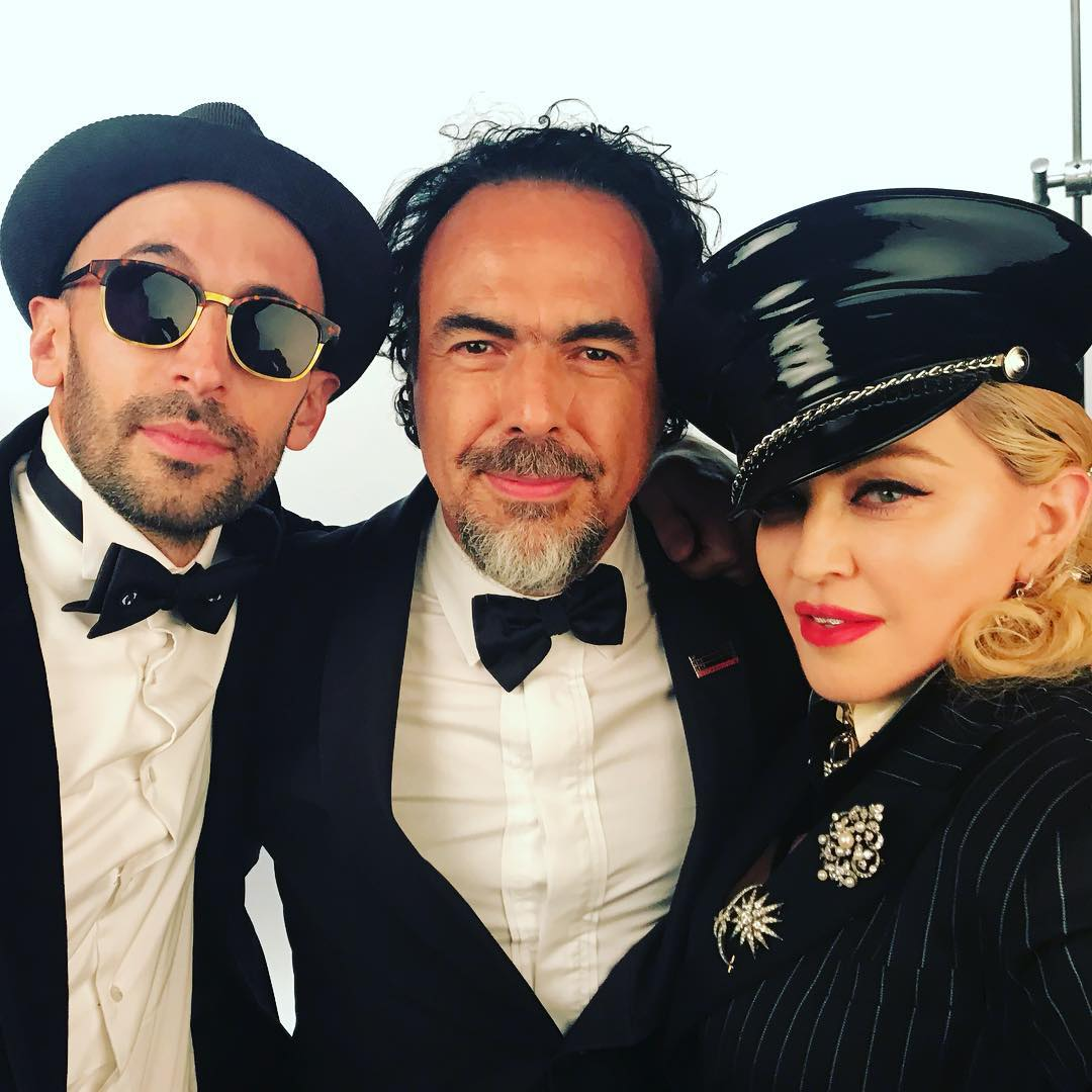 JR, director Alejandro González Iñárritu and Madonna at Madonna's Oscars 2018 party. All images courtesy of JR's Instagram
