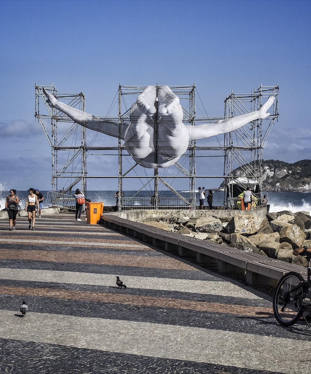 One of JR's GIANTS installations at the Brazilian Olympics