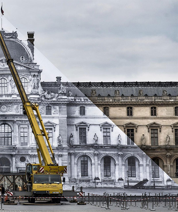 JR work being pasted up at the Louvre. Image courtesy of the Louvre's Instagram
