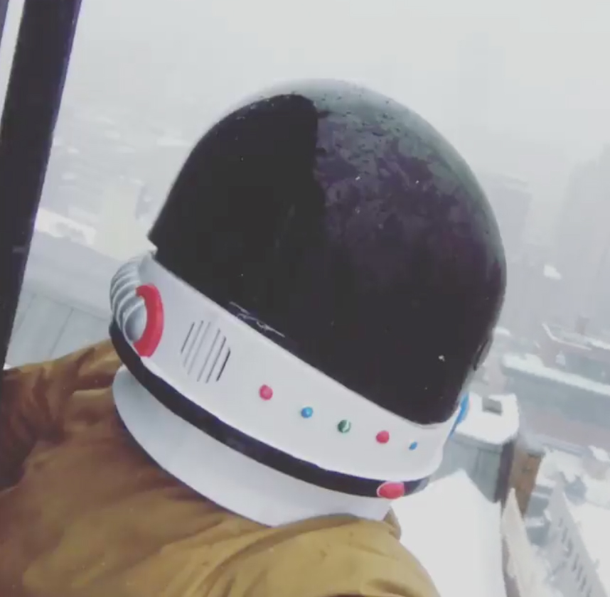 JR dons toy astronaut helmet to battle storm Stella
