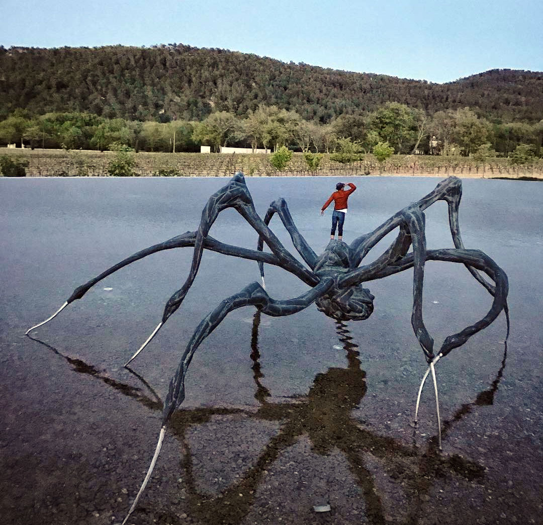 What's JR doing on top of that Louise Bourgeois spider?