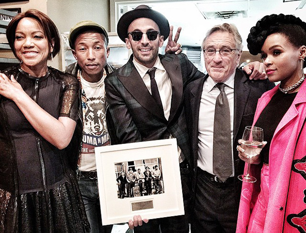 From left: Grace Hightower De Niro, Pharrell Williams, JR, Robert De Niro, Janelle Monáe at The Gordon Parks Foundation Awards, New York City, 2 June 2015. Image courtesy of JR's Instagram account