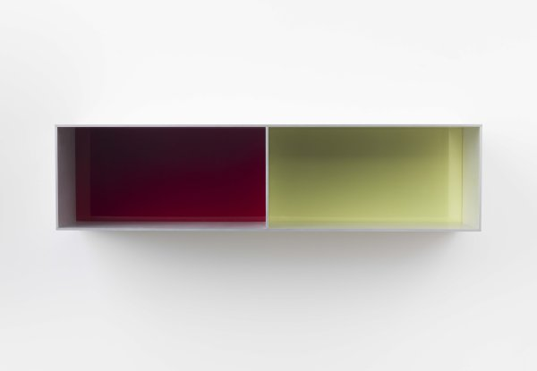 Donald Judd - Untitled (Menziken 88-84), 1988. Anodized aluminum clear with red and chartreuse Plexiglas. 9 3/4 x 39 3/8 x 9 3/4 inches (25 x 100 x 25 cm). Art © Judd Foundation.