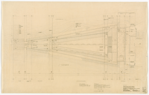 The plans for the Four Freedoms Park - Louis I Kahn