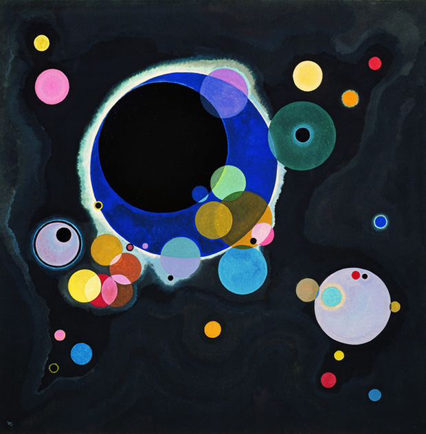 Several Circles (1926) by Wassily Kandinsky. As reproduced in Art in Time