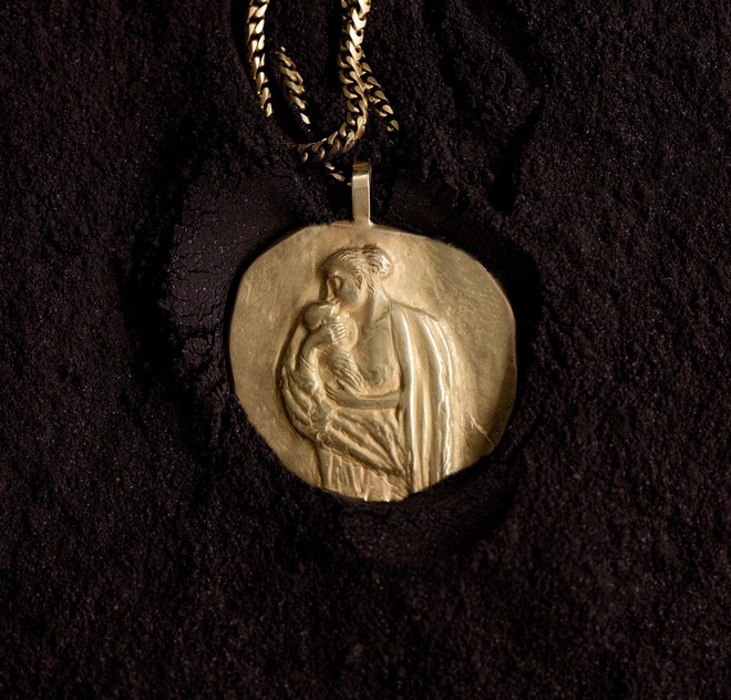 One of the Renaissance-inspired pieces from Kanye West's new Yeezy jewellery collection at yeezysupply.com