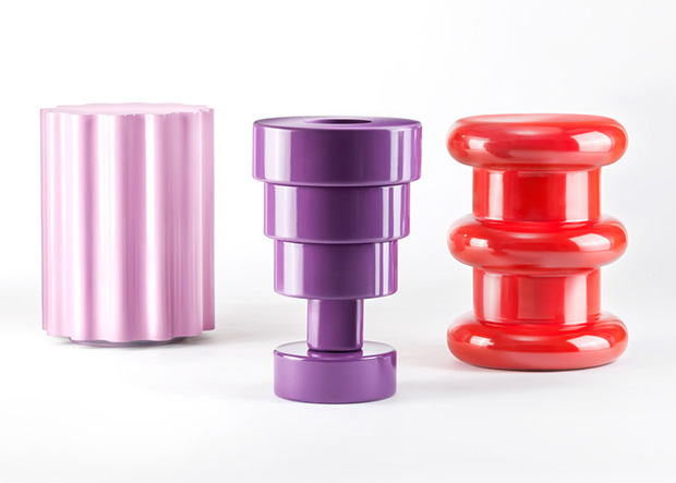 The Colonna stool, Calice vase and the Pilastro stool, from Kartell's newly produced Ettore Sottsass plans