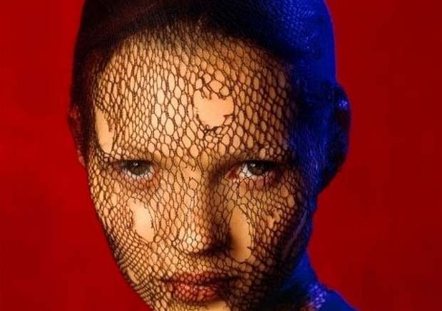 Detail from Kate Moss in Torn Veil, Marrakech, 1993 by Albert Watson