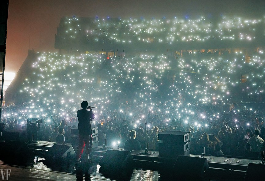 Kendrick Lamar, photographed onstage at Jones Beach Theater, in Wantagh, New York, May 30. Photograph by Annie Leibovitz
