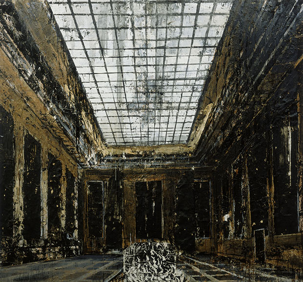 Interior (Innenraum), 1981 by Anselm Kiefer. Oil, acrylic, and paper on canvas, 287.5 x 311 cm  Collection Stedelijk Museum, Amsterdam Photo Collection Stedelijk Museum / copyright Anselm Kiefer