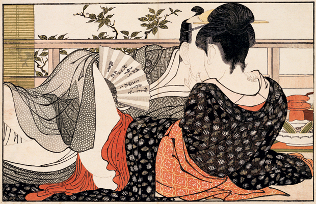 Kitagawa Utamaro, Lovers in the upstairs room of a teahouse, from Poem of the Pillow (1788)