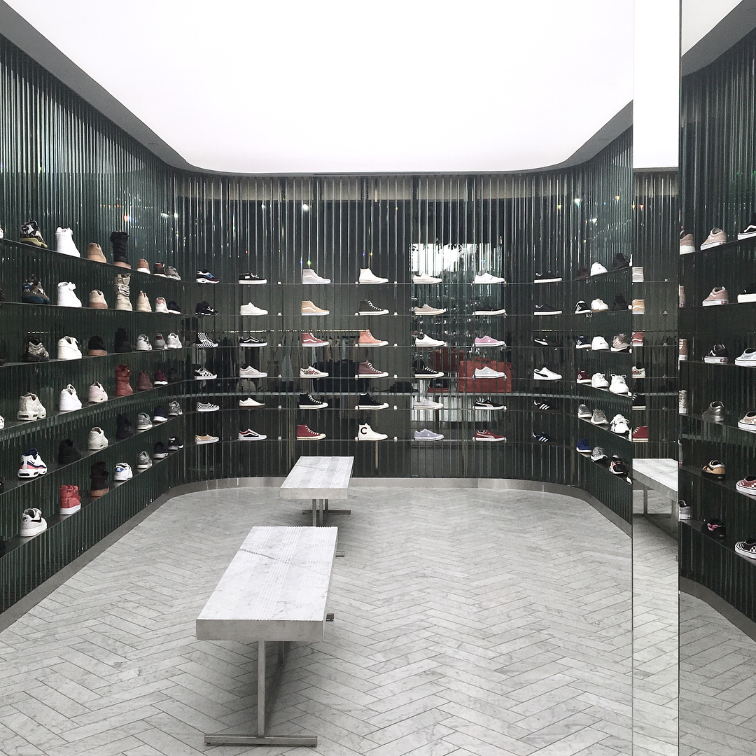 Kith's new elite footwear display in LA, created by Snarkitecture. Image courtesy of Snarkitecture's Instagram