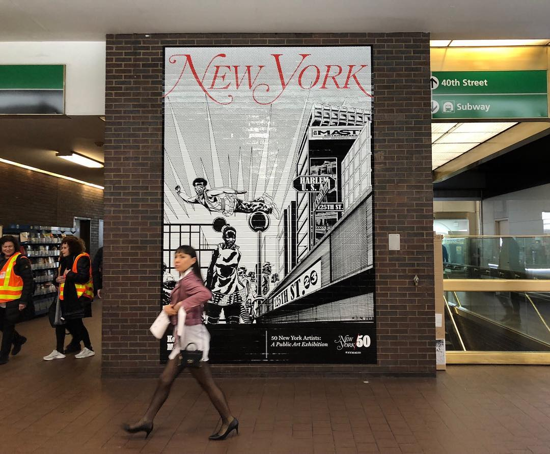 Kerry James Marshall's New York magazine cover, on display at the Port Authority Bus Terminal. All images courtesy of NY Magazine's Instagram