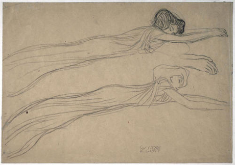 Two Studies for the Floating Figures of the 'Longing for Happiness' in the 'Beethoven Frieze' (1901–1902) by Gustav Klimt