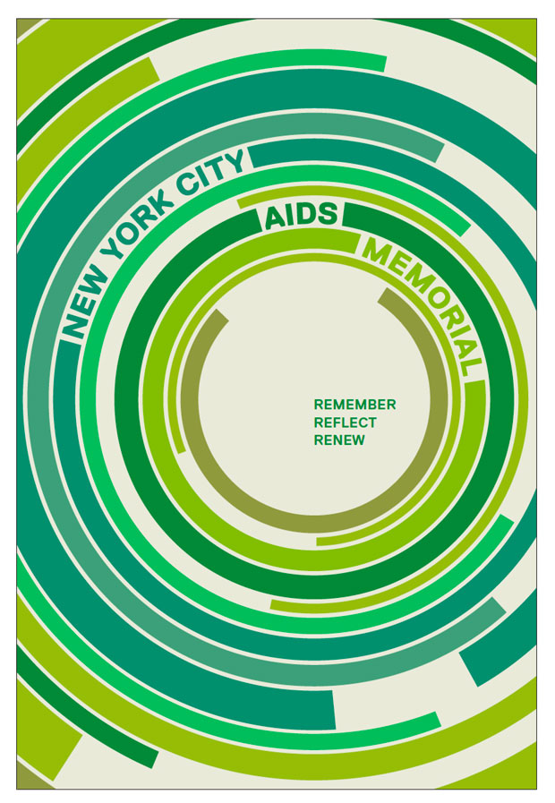 NYC AIDS Memorial artwork - Kobi Benezri. Multi green poster with the title integrated into graphic instead of tag line
