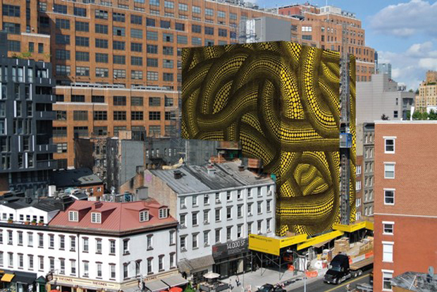 A rendering of what Kusama's Yellow Trees in New York will look like
