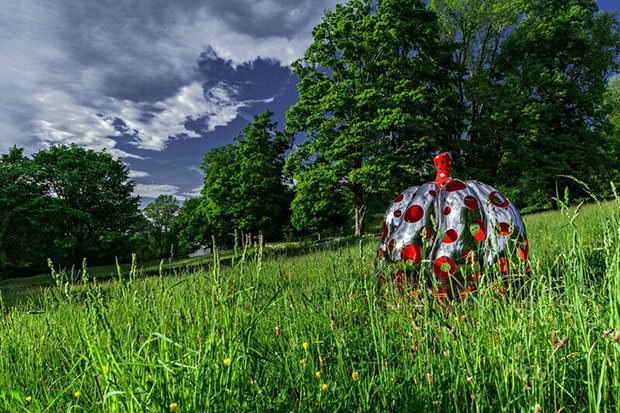Yayoi Kusama's Pumpkin installed at the Glass House. Photograph by Matthew Placek