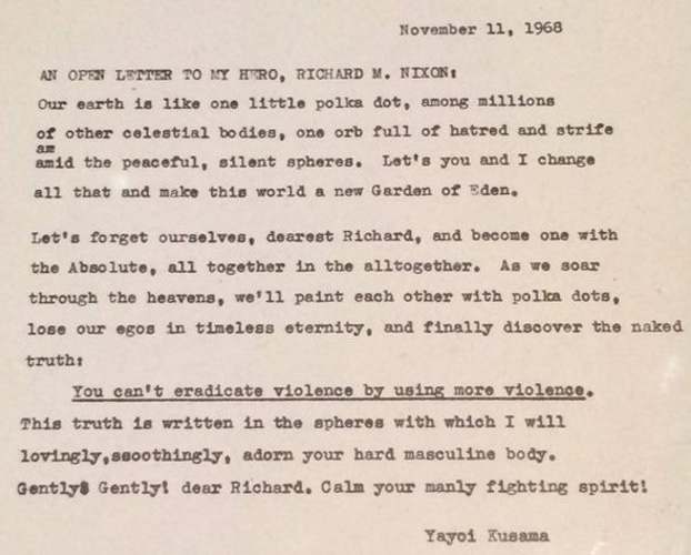 Why Yayoi Kusama wrote to Richard Nixon