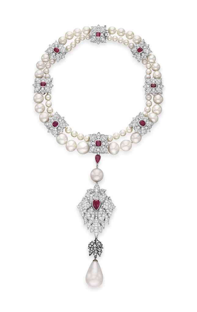 La Peregrina, 1972, natural pearl, diamond and ruby necklace, 78 cm (30½ in) necklace and drop SALE: 13 December 2011, New York; ESTIMATE: $2m–3m/£1.3m–1.9m; SOLD $11,842,500/£7,626,570. From Going Once: 250 Years of Culture, Taste and Collecting at Christie's