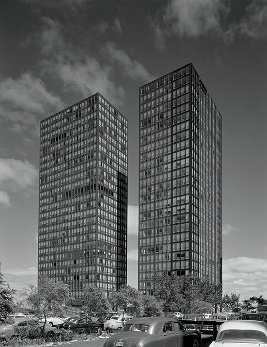 860–880 Lake Shore Drive Apartment Buildings, Chicago, 1948–51, by Mies van der Rohe
