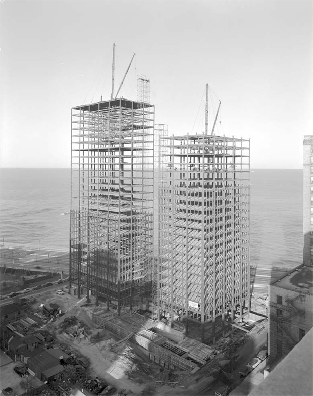 Lake Shore Drive under construction, 1950–1